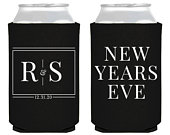 New Years Eve Wedding Coolers, Custom Monogram Can Cooler, Black Tie, Personalized Hugger, NYE, Rehearsal Dinner Favor, Reception Gift, 2029