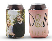 Custom Photo Can Cooler Personalized for your Wedding. Personalized Neoprene Can Cooler, Wedding Favor Can Huggies