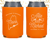 Maine State Wedding Welcome Can Cooler Beer Cozy Favor for Bags or Welcome Party