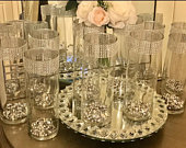 Centerpieces, vases 10 tall cylinder vases with silver beads, Each vase is decorated with silver rhinestone wrap, wedding Centerpieces
