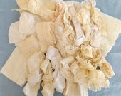 Vintage Eyelet Lace Trim Ruffle 20 Piece Bundle, Sewing Craft Project, Junk Journal Scrapbook Tag Making Supply, Doll Clothes Embellishment