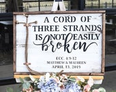 White Washed A Cord of Three Strands is Not Easily Broken Sign Wedding Ceremony Unity Cross Unity Ceremony Ideas Gods Knot Braids for Unity