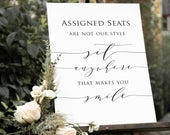 Assigned Seating Poster , Wedding Seating Poster, Choose a Seat Sign, Ceremony Seating Sign, Instant Download, WLPSCR 1932