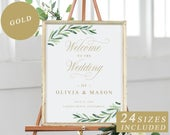 Greenery Welcome To The Wedding Sign, Editable Welcome To The Wedding Template With Gold Calligraphy, Wedding Ceremony Sign INSTANT DOWNLOAD