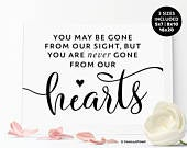 Never Gone From Our Hearts Sign, In Loving Memory Wedding Signs, Wedding Memory Table Signs, Wedding Memorial Sayings, Wedding Memorial Seat