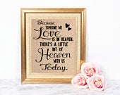 Because someone we love is in heaven / Memorial Sign for Wedding / Loved One Memorial / In Memory of Sign / Rustic Wedding Decor/Burlap Sign