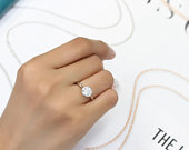 Women Sterling Silver Wedding Ring Round 1 carat CZ Stone Bezel Set Solitaire Engagement Ring, Diamond Simulant Engagement Ring(SNRC102802)