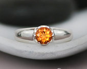 Citrine Preengagement Ring Sterling Silver Engagement Ring November Birthstone Ring Chunky Silver Ring Promise Ring for Her