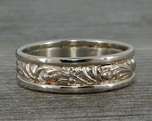 Recycled 14k White Gold Scroll Patterned Wedding Band, Wide Mens Ring, 6mm Wide, Ethical, EcoFriendly, Made To Order