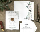 Elegant Vellum White Floral Wedding Invitation Set with Translucent Wax Seal, Modern, Boho Chic Greenery, Botanical Watercolor Invite