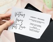 Nothing fancy just love wedding invitation template download, Elopement announcement reception invitation card, Printable editable template