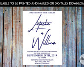 Simple Elegant Wedding Invitation w/ Fall Colored Font, Wedding Invite w/ Green, Blue, Burgandy Font with Free RSVP Cards