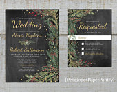 Elegant Rustic Winter Wedding Invitation,Chalkboard,Evergreens,Red Berries,Gold Confetti,Gold Print,Shimmery,Printed Invitation,Wedding Set