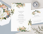 Printed Floral Wedding Invitation, Rustic Wedding Invitation Set, Elegant Wedding Invitations,
