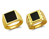 Mens Signet Ring 14K Solid Yellow Gold, Mens Black Onyx Ring, Anniversary Gift For Him
