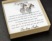 CUSTOM Groom gift from bride on wedding day personalized cufflinks tie clip cufflinks silver gold cufflinks wedding cufflinks groom square