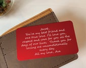 Groom Gift from Bride Custom Wallet Card Insert Bride Gift to Groom Fiance Gift for Him Valentines Day Gift for Him Wallet Insert