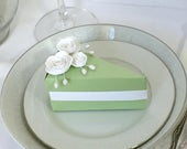 Paper Cake Slice Favor Treat Box / Set of Six: Lime, Sage Green With White Roses And Pearls