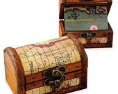Personalized Wood Treasure Map Chest Box Custom Wooden Pirate Chest Party Favors Wedding Gift Keepsakes: Bride, Groom, Birthday Party