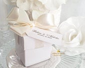 Wedding Pom Bow Elegant Favor Boxes 55 at 1.75 ea. 2 in 2 piece boxes, custom tags, with satin ribbons and pom bows attached