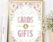 Cards Gifts Sign. Pink Purple Gold Floral Watercolor Roses Bridal Shower Gift Table. Confetti Glitter Stars Wedding Decoration Favors. PPG