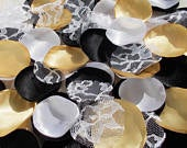 Black White Gold Petals, Wedding Rose Petals, Wedding Decor, Halloween Spooky Glam, Table Scatter Petals, Crafting Flower Girl Petals
