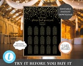 Wedding Seating Chart Table Assignment Poster Reception Dinner Table Name Board Find Your Seat Plan Confetti Black Gold Navy White PCGCWS