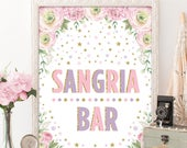 Pink Purple Gold Sangria Bar Sign. Pink Floral Roses Bridal Shower Decor. Glitter Confetti Stars Wedding Table Decoration. Favors Decor. PPG