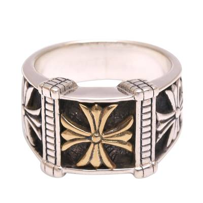 Men's Cross Motif Sterling Silver Band Ring from Bali