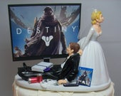 GAMER Funny Wedding Cake Topper DEST Video Game Gaming Junkie Addict Rehearsal Grooms Bride w/Veil Groom New White PS4 TV Custom