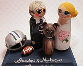 Wedding Cake Topper / Sports Fan / Custom Painted Wood Peg Dolls with Base and Gear