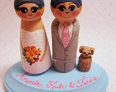 Wedding Cake Topper / Custom Painted Wood Peg Dolls / Couple Plus 1 small peg (perfect for children or pets) and Plaque / sports logos