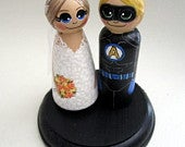 Wedding Cake Topper / Custom Painted Wood Peg Dolls with Plaque / Superhero and Bride