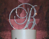 Gorgeous Swarovski Crystal Wedding Cake toppers 4 in Any Letter monogram custom cake topper, bling cake topper, rhinestone cake topper
