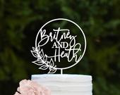 Personalized Wedding Cake Topper Calligraphy Cake Topper Custom Cake Topper for Wedding Wedding Cake Decor Monogram Cake Topper