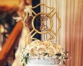 Firefighter Wedding Cake Topper, Monogram Wooden Cake Topper