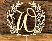 Monogram Cake Topper, Elegant Wedding Cake Topper, Custom Wedding Cake Topper, Initial Cake Topper, Laser Cut Cake Topper, Rustic Cake Decor