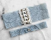 Wedding Garters, Dusty Blue Corset Garter, Blue and Gold Garter, Something Blue, Bridal Garter, Unique Garter Sets, Vintage Lace Garter