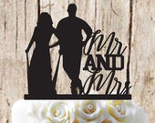 Mr and Mrs Couple Silhouette Wedding Cake Topper Baseball Couple Softball Couple Mr and Mrs Baseball/Softball Couple