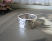 Hammered Silver Wedding Band, Handmade Silver Band, Sterling Silver Wedding band, Wide Silver Wedding Band, SIZE 6