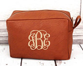 Faux Leather Monogrammed Makeup Bag, Personalized Makeup Case, Travel Case, Bridesmaid Gift, Bridal Party Gift, Monogrammed, Birthday Gift