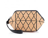Geometric Cork Cosmetic Pouch Bag Natural, Vegan and Sustainable