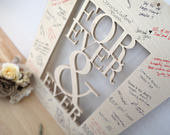Forever Ever Wedding Sign Guestbook Alternative Rustic Wedding Guest Book Wood Wedding Unique Trending Painted Wooden