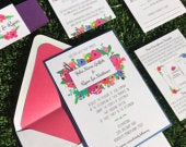 Floral Wedding Invitation, Navy Pink and Purple Flower Wedding Invitations, Spring Wedding Invitation, Colorful Wedding invitations