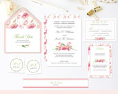 Flower Wedding Invitation Suite, Garden Wedding Printable Invites, include thank you and rsvp card. Instant Download PDF Template FPK06fs