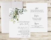 Greenery Wedding Invitation without RSVP Card, Dusty Blue Wedding Invitation, Floral Wedding Invite, Customized Floral Wedding Invitation