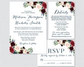 Printable OR Printed Wedding Invitation Suite Navy and Marsala Floral Wedding Invitation Package Rustic Wine Flower Wedding Invites 0010