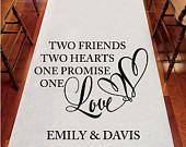 Two Friends Personalized Aisle Runner Plain White Aisle Runner Entrance FJM877546WS