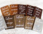 Set of 10 Classic Wedding Aisle Sign/Wood Wedding Sign/Love is Patient Sign/1 Corinthians 13:4/Wedding Table Decor/Love is Patient/Isle Sign