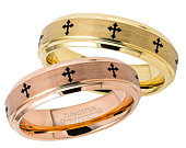 Laser Engraved Cross Tungsten Wedding Band Set, Yellow Gold Rose Gold IP Tungsten Wedding Rings, Bride and Groom Rings TN372720CS